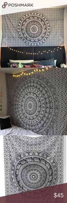 Black and White Elephant Mandala Tapestry New! Large, twin bed sized (6 feet and 10 inches by 4 feet 7 inches). Not from urban outfitters, just a very similar style to their home wares so I marked as such for exposure 😊 ⚜️I love receiving offers through the offer button!⚜️ Brand new! (the one you'd get is brand new, the pictures are of mine which has little holes through it now from being hung up lol, the one I send out will be new and unused!) Urban Outfitters Accessories