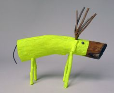 Neon Yellow  small Wooden Deer by CocoetPompon on Etsy, $60.00