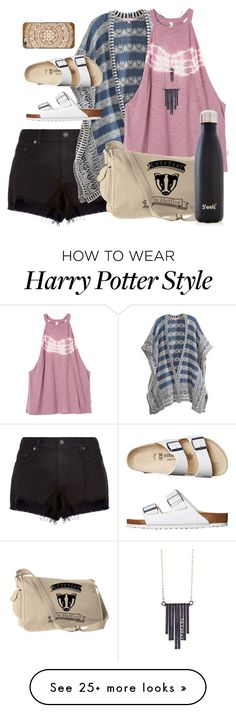 """""""badgering"""" by bethboonstra on Polyvore featuring rag & bone, Calypso St. Barth, RVCA, Birkenstock, Casetify, S'well and Ariko"""