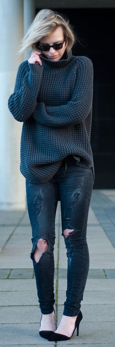 OUTFIT / KNITS & RIPS / RedreidingHood