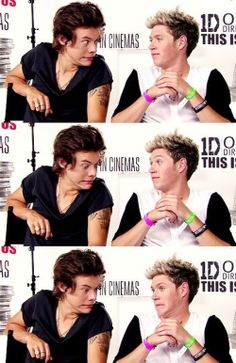 Harry Styles and Niall Horan funny photo during interview