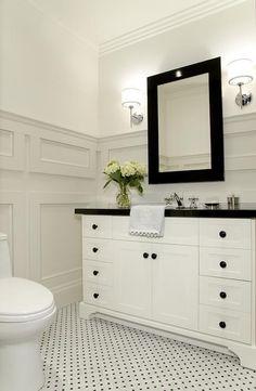 bathrooms - Benjamin Moore - Grey Mist - Benjamin Moore White Dove Powder room bathroom moulding marble floor tile Pretty Powder Room