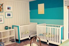 Blue ombre accent wall in a twins nursery - love the look!