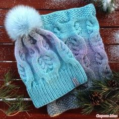 Ombre cable knit hat and cowl Knitted Mittens Pattern, Poncho Knitting Patterns, Baby Hats Knitting, Knit Mittens, Knitted Hats, Cable Knit Hat, Knit Beanie Hat, Crochet Cap, Knit Shoes