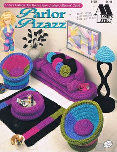 Parlor Pizazz Fashion Doll Crochet Living Room Furniture Craft Pattern Leaflet Annie's Attic 540B. $5.00, via Etsy.