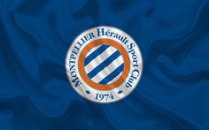 تحميل خلفيات Montpellier HSC, نادي كرة القدم, شعار, مونبلييه شعار, فرنسا, الدوري الفرنسي 1, كرة القدم