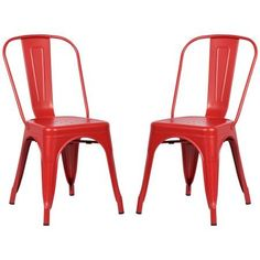 Poly and Bark Trattoria Side Chair in Red (Set of 2)