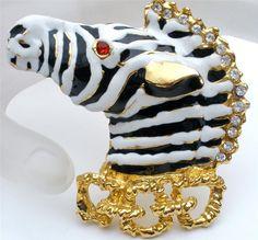 Black White Striped Zebra Enamel Ruby Red Rhinestone Figural Vintage Brooch Pin | eBay