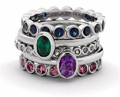 Stackable Mother Rings!  I like the mix match big and small together one for each not all together on one