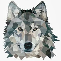 wolf - origami  geo animals trend