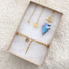 Shark Tooth Necklace, Mini Heart Necklace, Bioluminescence Arrowhead Necklace, Braided Bracelet with spike dangle by Long Lost Jewelry