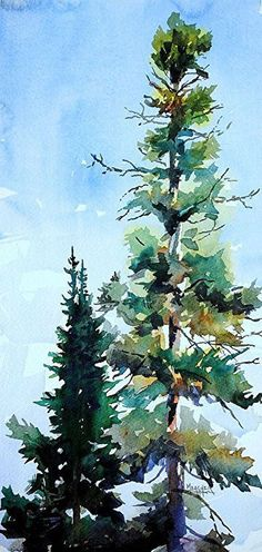 Twin Pines by Spencer Meagher Watercolor ~ 15 x 7
