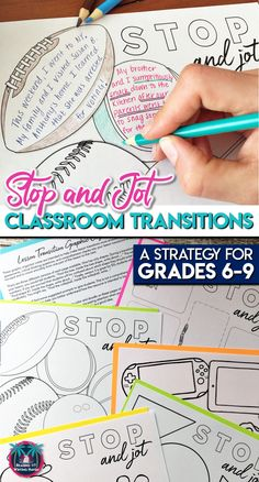 Classroom Management Strategy: Classroom Transitions Activity for Middle or High Stop and Jot - A reflective and anticipatory classroom transition strategy for middle school and high school classes Middle School Ela, Middle School English, Middle School Teachers, High School Classes, Art Classroom, School Classroom, Biology Classroom, Classroom Management Strategies, Writing Strategies
