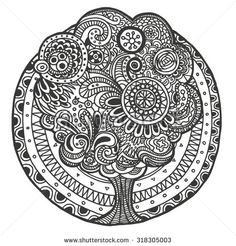 Ethnic floral retro doodle background pattern with tree in the middle, black and…
