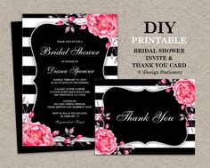 Black And White Stripe Bridal Shower Invitation With Thank You Card by iDesignStationery on Etsy