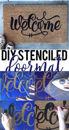 Learn how to stencil your own doormat, plus get a free Welcome SVG file. Works with Silhouette, Cricut, and other electronic cutters.