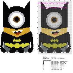 Minion in versione Batman schema punto croce cartoni animati per bambini