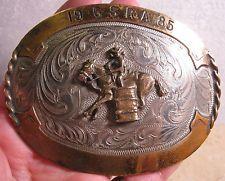 1985 Hand Engraved BARREL RACING AwesomeTrophy Belt Buckle GSRA MAKE OFFER $170.00 or Best Offer Free shipping Item image