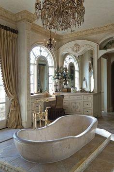 bathroom.....beautiful chandelier.