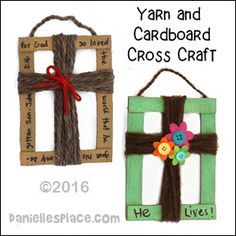 Cardboard and Yarn Cross Craft for Children's Ministry from www.daniellesplace.com                                                                                                                                                                                 More