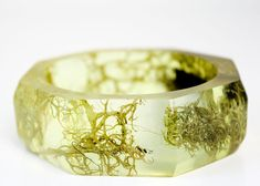lichen and bark eco resin statement bangle