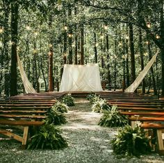 Our Forest Ceremony site is waiting for your dream wedding. This great picture w… Our Forest Ceremony site is waiting for your dream wedding. This great picture was taken by wit of Forest Wedding Venue, Woodsy Wedding, Wedding In The Woods, Dream Wedding, Fern Wedding, Lakeside Wedding, Wedding Ceremony Decorations, Wedding Table Centerpieces, Wedding Ideas