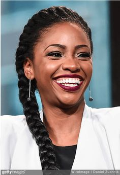 Goddess Braid JANUARY Teyonah Parris attends AOL Build to discuss her new film 'Chi-Raq' at AOL Studios on January 2016 in New York City. (Photo by Daniel Zuchnik/WireImage, Source: GettyImages) Natural Hair Men, Natural Hair Regimen, Pelo Natural, Natural Hair Styles, Twa Hairstyles, Natural Afro Hairstyles, Protective Hairstyles, Protective Styles, Romantic Bridal Updos