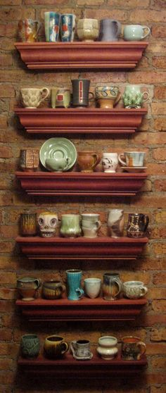 Sweet and interesting display of potter Gary Jackson's collection of pottery mugs.  Fun to browse.