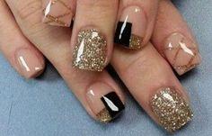 Modern Nails Decorated Easy and Nice Nail Designs 2014, Simple Nail Art Designs, Colorful Nail Designs, Cute Nail Designs, Easy Nail Art, Cute Nail Polish, Cute Nails, Pretty Nails, Gold Nails