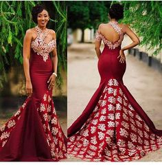2017 New Arabic High Neck Satin Mermaid Evening Dresses Lace Applique Floor Length Formal … – African Fashion Dresses - African Styles for Ladies African Prom Dresses, African Wedding Dress, African Fashion Dresses, African Attire, African Wear, Ghanaian Fashion, African Women, Pageant Dresses, Ghana Wedding Dress
