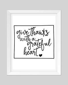 Word Printable Art  //  Give Thanks  //  Quote Printable Art  //  Minimal  //  Scandinavian Style  //  4 JPEG Files  //  Wall Decor