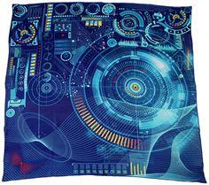"Blue 100% silk scarf square ""Matrix"""