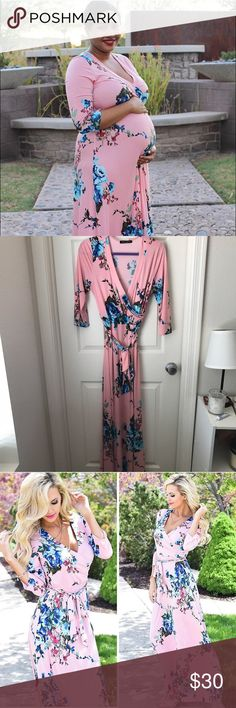 Pink Floral Maxi Gorgeous Maxi. Perfect for spring/summer months. Not maternity but perfect for the bump. Very stretchy. Worn once for blog photos. Perfect condition. Dresses Maxi