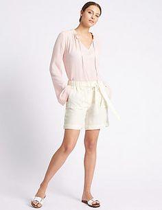 Pure Linen Tie Waist Shorts