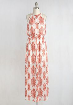 This ivory maxi dress delivers feelings of tranquility with every wear, which is a style secret you're happy to share! A quick ticket to your ideal ensemble, this floral-printed frock dazzles with rich orange hues, a lace-up back, flowing fabric, and an aesthetic which was once only found in dreams.