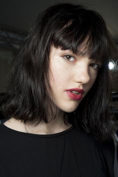 Bedhead and stained berry lips are the epitome of an effortless beauty look as seen on Vogue UK.