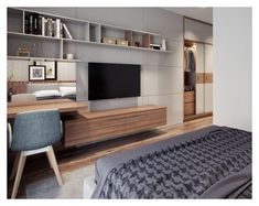 41 Modern Bedroom Design Ideas You Should Already Own Master Bedroom Interior, Bedroom Closet Design, Tv In Bedroom, Modern Bedroom Design, Home Decor Bedroom, Home Living Room, Room Decor, Bad Room Design, Hotel Room Design