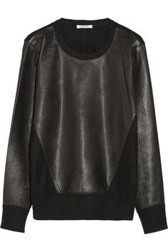 Helmut Lang|Leather and wool sweatshirt|NET-A-PORTER.COM