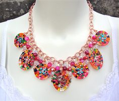 Resin candy resin charm necklace with copper by sparklecityjewelry, $116.00