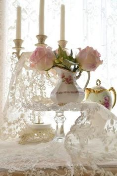 Ana Rosa ~ Candles, Lace, Teapots and Roses