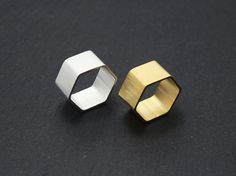 Gold/silver wide hexagon rings,hexagon rings,hexagonal rings,trendy wide rings,wide rings,layering rings,layering wide rings,sexangle rings by MYLB on Etsy