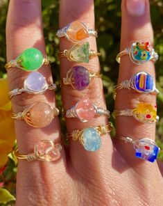 Wire Jewelry Rings, Wire Jewelry Designs, Handmade Wire Jewelry, Funky Jewelry, Hand Jewelry, Handmade Rings, Hippie Jewelry, Cute Jewelry, Crystal Jewelry