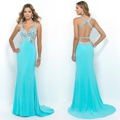 2015 Chiffon Beaded Prom Dress Sexy Spaghetti Prom Dresses Sleeveless Backless Crystal Beaded Sweep Train Fast Delivery Custom Made Short Red Prom Dresses, Prom Dresses 2016, Grad Dresses, Bridesmaid Dresses, Formal Dresses, Prom Dresses With Straps, Prom 2016, Ball Dresses, Beaded Prom Dress