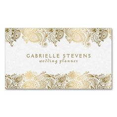 Elegant Gold And White Paisley Wedding Planner Business Card Templates