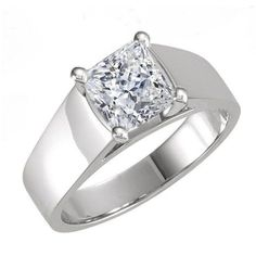 Princess Cut Wide Band Cathedral Solitaire Engagement Ring in SOLID 14K Gold