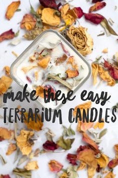 Easy & Gorgeous! Use dried flowers, garden smudge, or plants to make these Easy Terrarium Candles that are pretty  enough to be on display in your home! Repin & Save!
