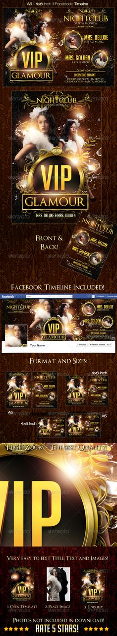 VIP Glamour Flyer Template + Timeline - Clubs & Parties Events $7