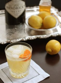 The Bees Knees cocktail Ingredients: three lemons one ounce local honey two ounces Hendrick's gin one cup ice one orange