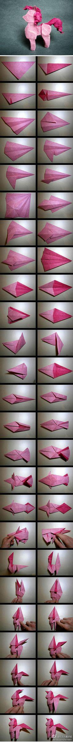 my little pony, origami  折纸 靓图 纸艺 德国折纸达人daniel chang设计并制作的粉…