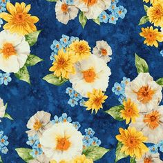 Gardenside Path 10 Squares Layer Cake, Robert Kaufman - Squares, Blue and Yellow Floral Fabric Squares, Blue Floral Layer Cake Paper Pieced Quilt Patterns, Cotton Quilting Fabric, Robert Kaufman, Fabric Squares, Winter Time, Floral Fabric, Baby Quilts, Bouquet, Painted Flowers